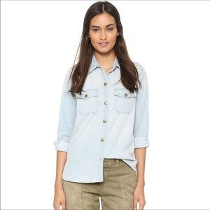Current Elliot Light Chambray Button Down Shirt 3